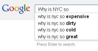 Google autocompletes New York.