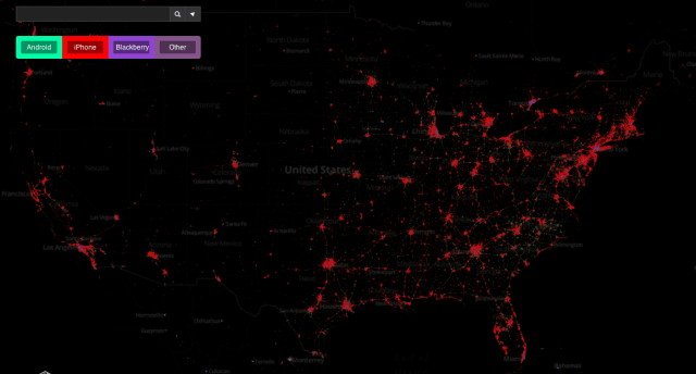 Mobile Devices + Twitter Use:  More than280 million Tweetsposted from mobile phones reveal geographic usage patterns in unprecedented detail. Mapbox