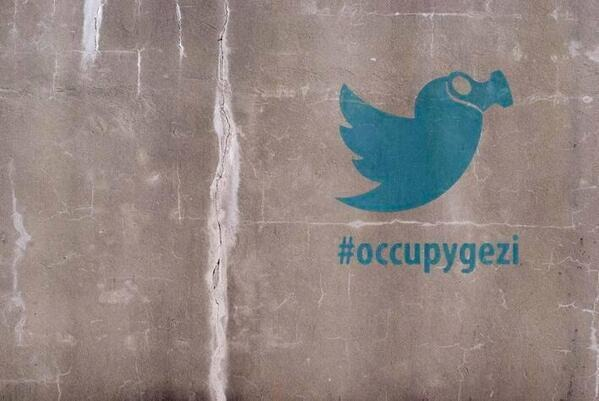 This art speaks louder than 140 characters, ridiculing Erdogan's sharp criticism of Twitter.  Every movement needs its own defining version of the Twitter logo.