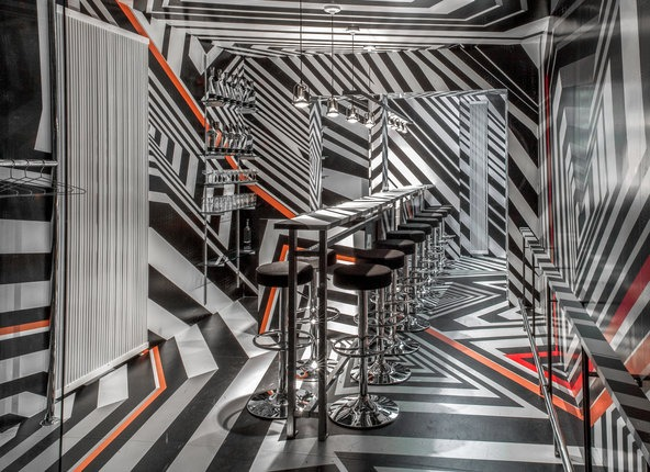 """""""I love that this installation is essentially a little bar within a bar. And it reinforces my desire to create spaces that are paradoxical — spaces that, to look at, are both attractive and camouflaged."""" -Tobias Rehberger"""