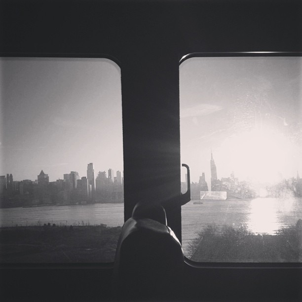 Sun shine over the Hudson (at NYC/NJ) Original, black and white