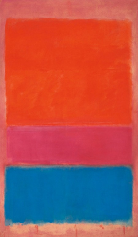 """Mark Rothko's """"No. 1 (Royal Red and Blue),"""" 1954 Sold for $75.1 million on Tuesday at a Sotheby's auction. Sotheby's sold $375 million in value that evening, its highest ever. I wonder if the rich actually appreciate the art or the machismo that goes with it. Art is best appreciated by the public, ideally a museum, not bought for the single viewing pleasure of a coterie."""
