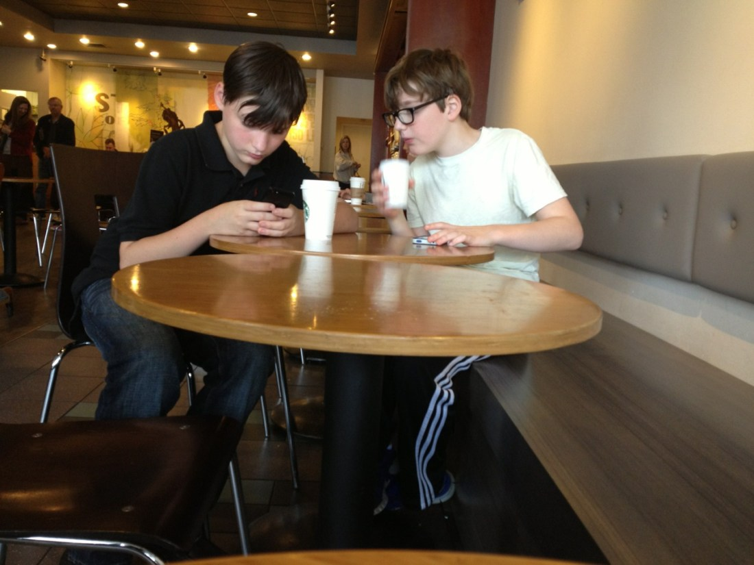 Mini Entrepreneurs at Starbucks. They paid with Square and are now tweeting about it.