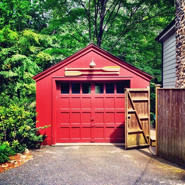 Red Garage With Two Rowing Sticks (Taken with Instagram at Connecticut)