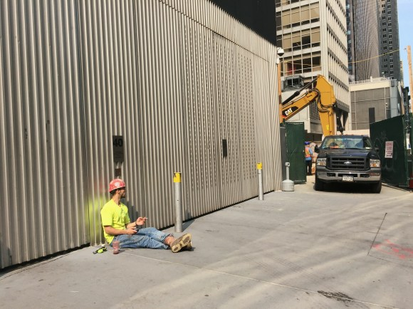 Construction worker at the Museum of Modern Art