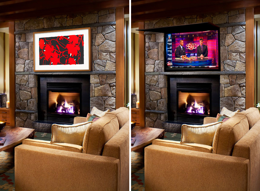 hiding tv in living room accent chairs for clearance installs cover ups hidden solutions with art or framed mirror