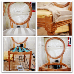 Reupholstering A Chair Outdoor Resin Chairs French Louis Classy Glam Living Stripping Original Fabric From Diy