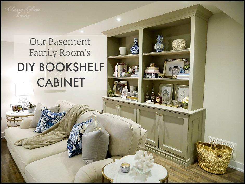 diy shelves in living room center rugs for nigeria our basement family s bookshelf cabinet classy glam built