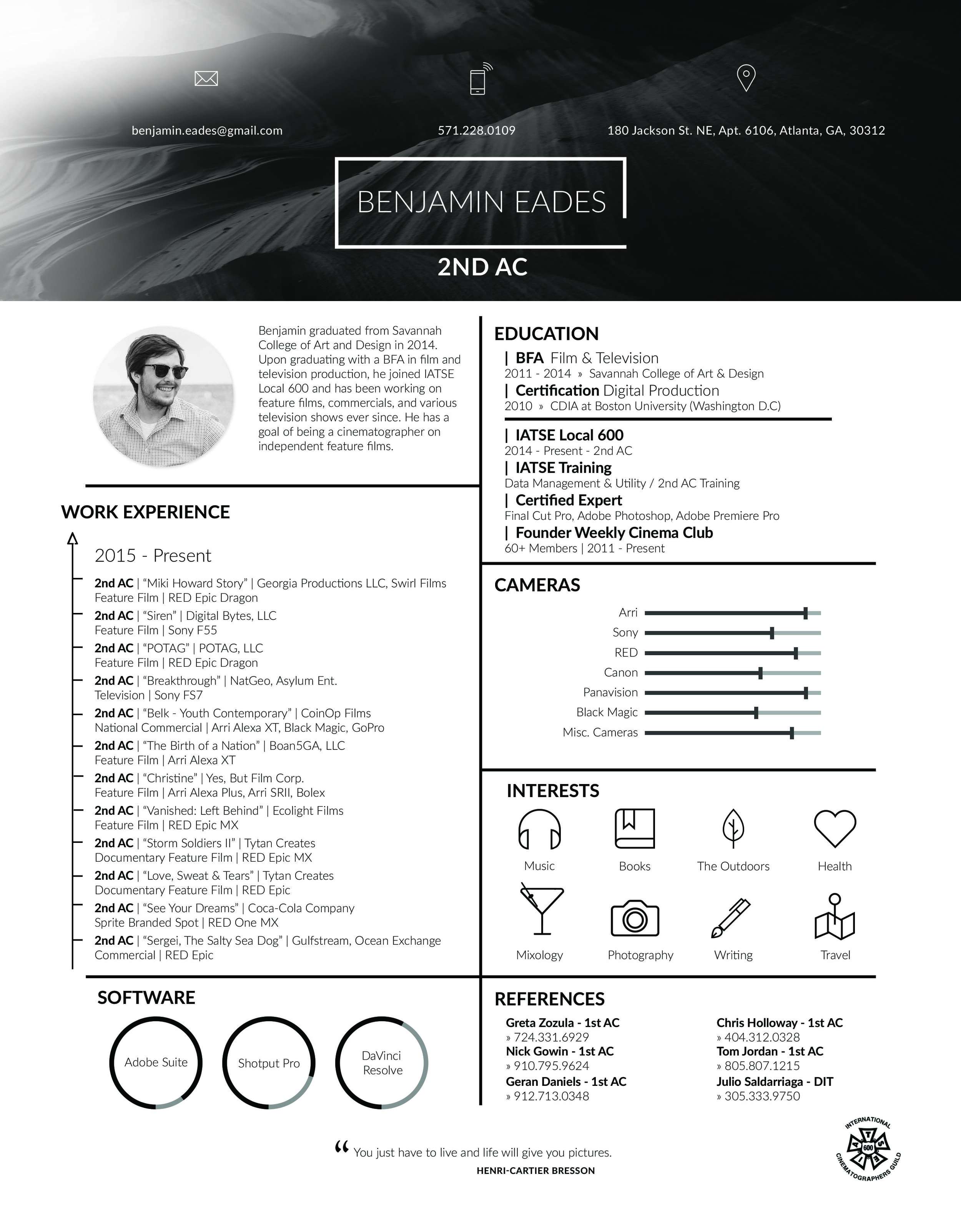 90 Director Of Photography Resume Cinematographer