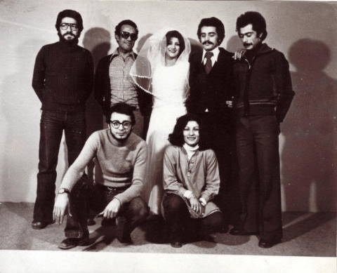 Abbas Kiarostami with the cast and crew of The Report (including Shohreh Aghdashloo, standing centre)