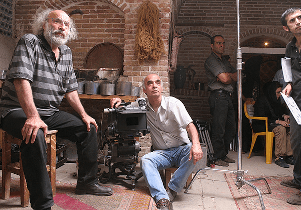 Kiyanoush Ayari (left) on the set of The Paternal House