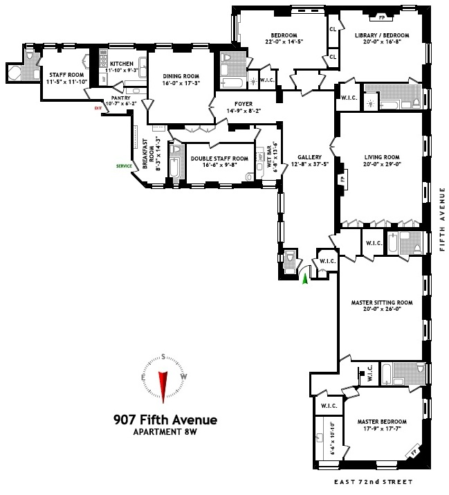 907 Fifth Avenue: Floor plans — Empty Mansions, the No. 1