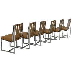 Milo Baughman Dining Chairs Swimming Pool And Tables Rare Set Of Six Flat Bar Leather 4661133 Z Jpg