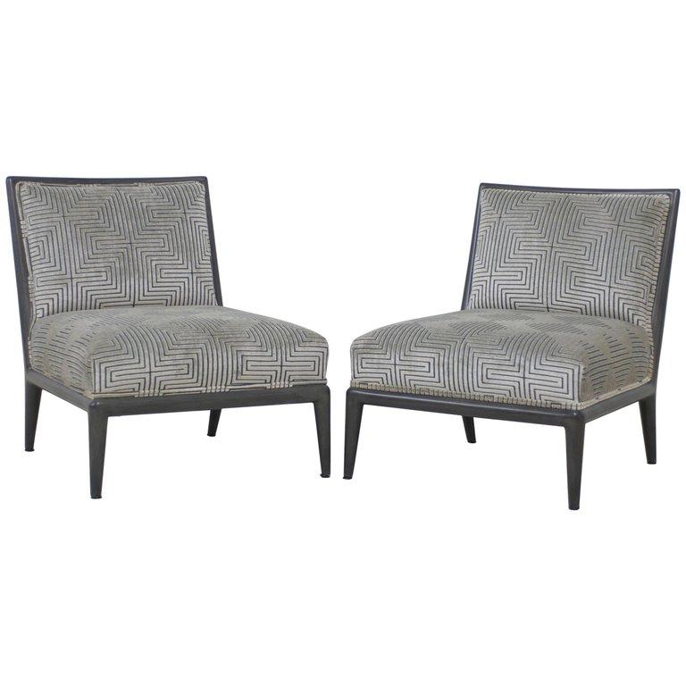 grey velvet slipper chair restoration hardware desk sold pair of charcoal finish geometric cut mid century chairs 8253093 master jpg
