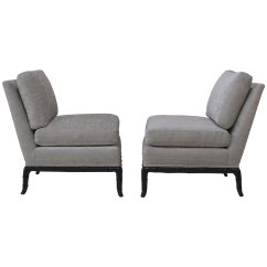 Grey Velvet Slipper Chair High Cushion Sold Pair Of Chairs In Platinum With Horn Shaped Faux Bamboo Base