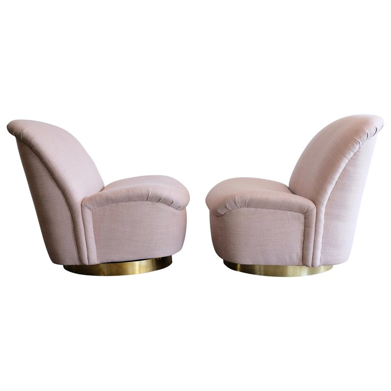 swivel lounge chairs directors chair outdoor sold pair of directional in pink with brass base
