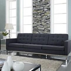 Loft Charcoal Sofa Bed Sand Colored Leather Button Rentquest