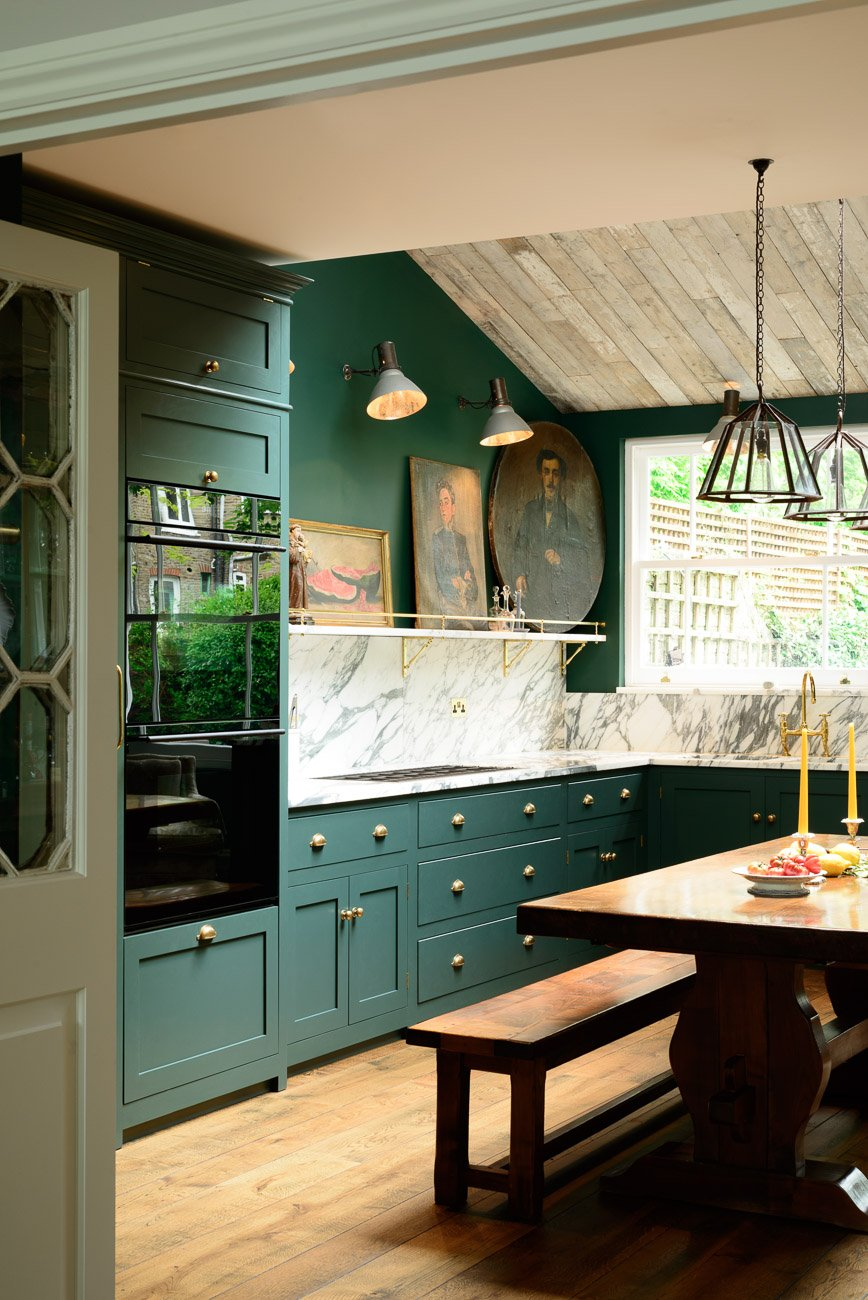 artwork for kitchen large white island fine art in the boxwood avenue devol design with hunter green cabinets