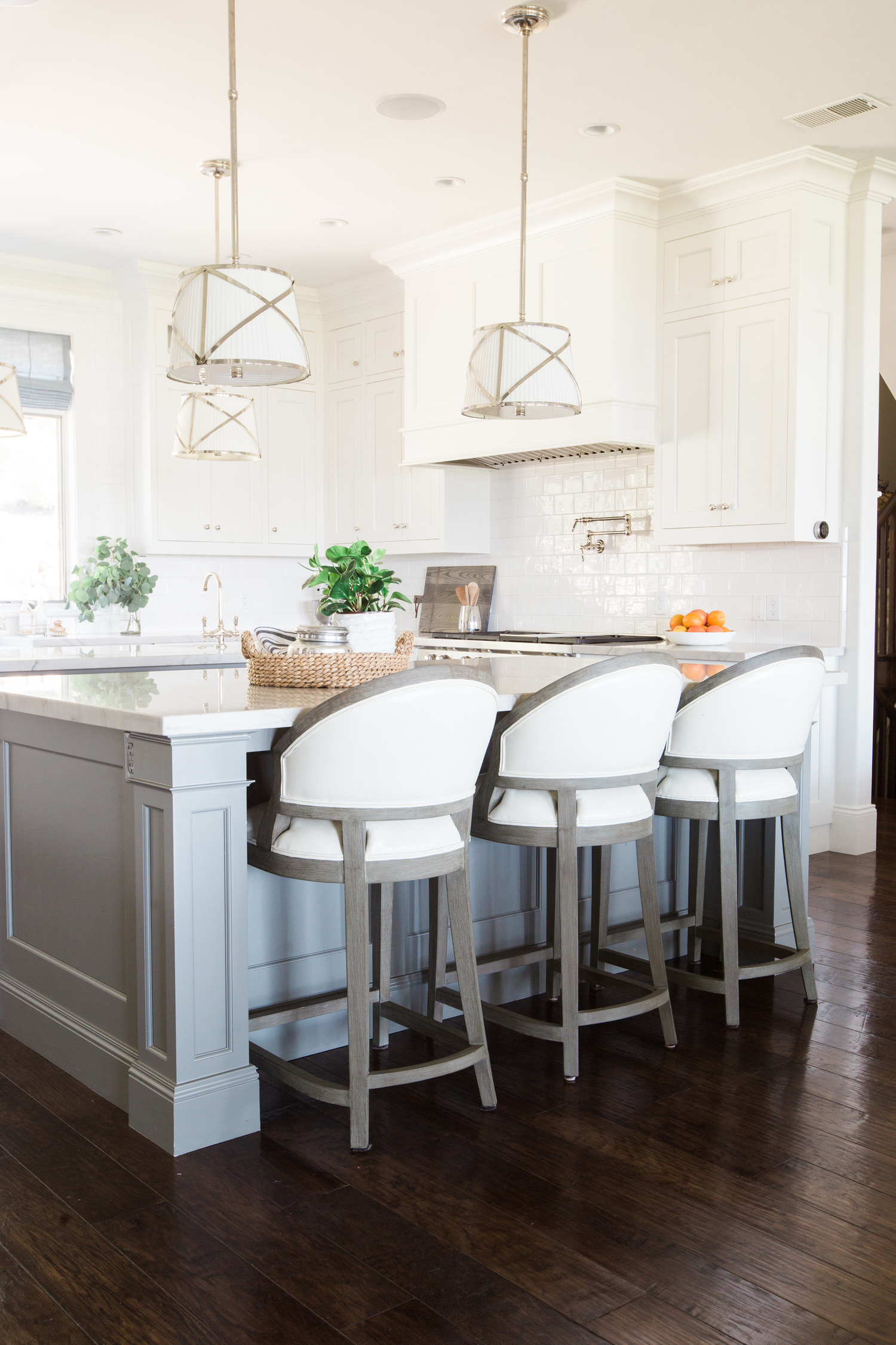 kitchen stools with backs changing countertops in mountainside remodel — studio mcgee