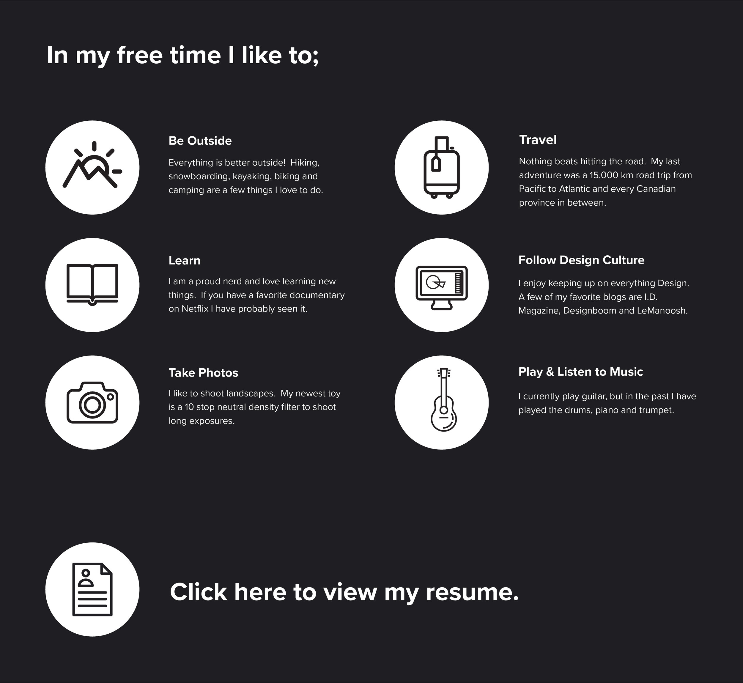About Me. Interests And Resume