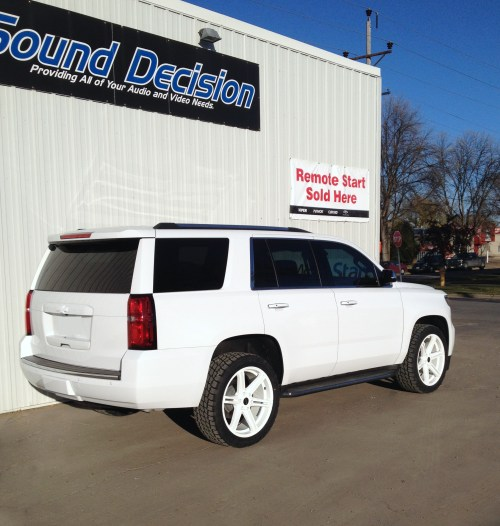 small resolution of 2015 chevy tahoe custom powder coated kmc wheels stripped emblems painted bowties to match