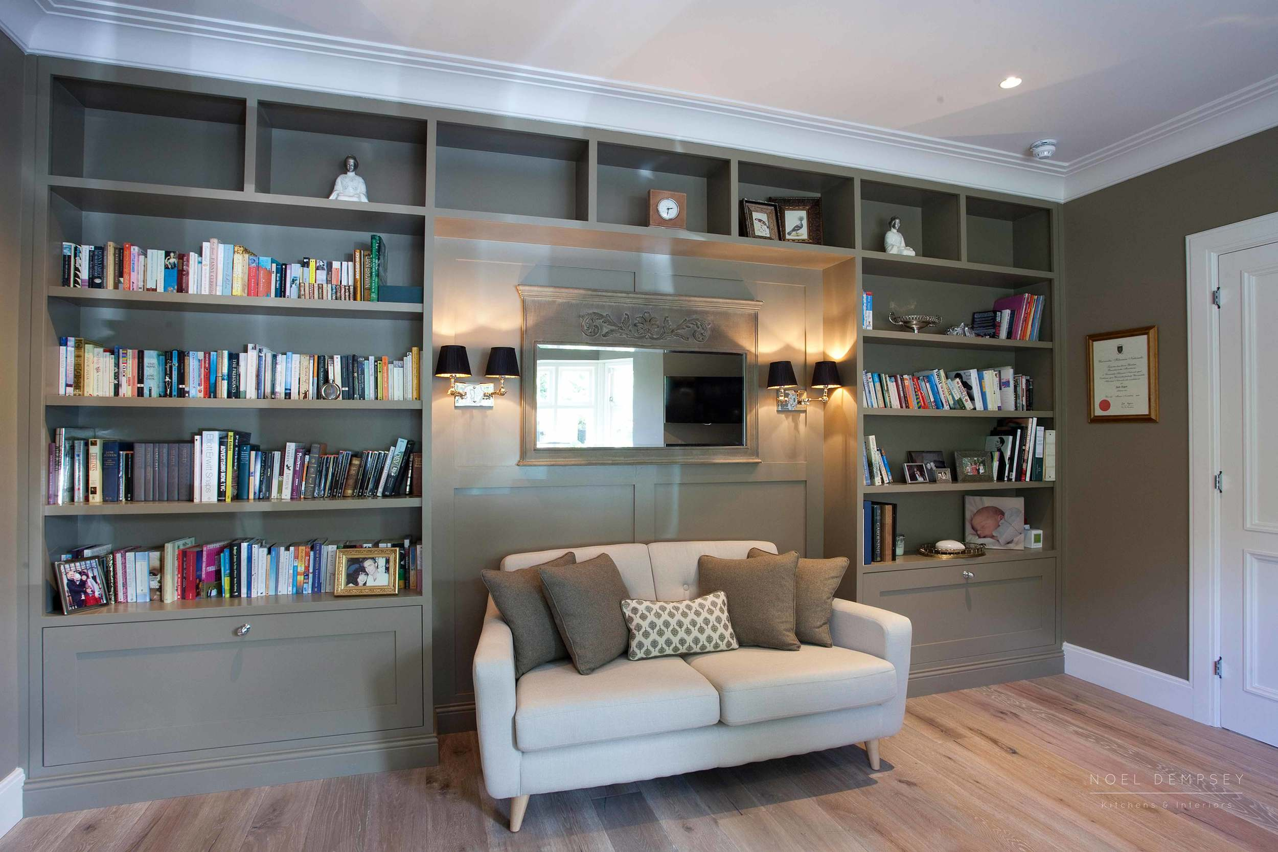 white living room furniture ireland curtains bespoke luxury noel dempsey design built in study shelving 1 jpg