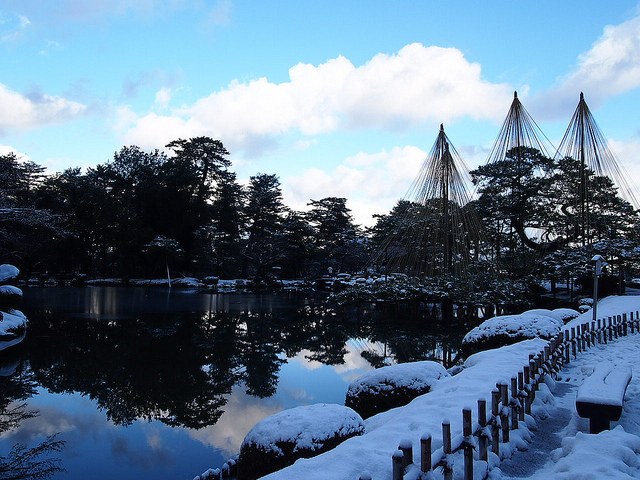 A clear day at Kenrokuen, morning of Dec 30th