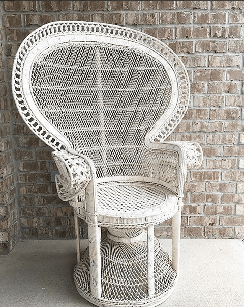 vintage peacock chair navy blue leather dining chairs savannah and antique furniture rentals in