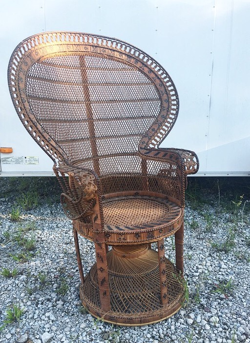 vintage peacock chair grey nailhead dining groom s savannah and antique furniture brown wicker wide back png