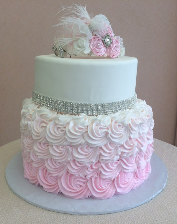 Gold And Pink 2 Tier Birthday Cake