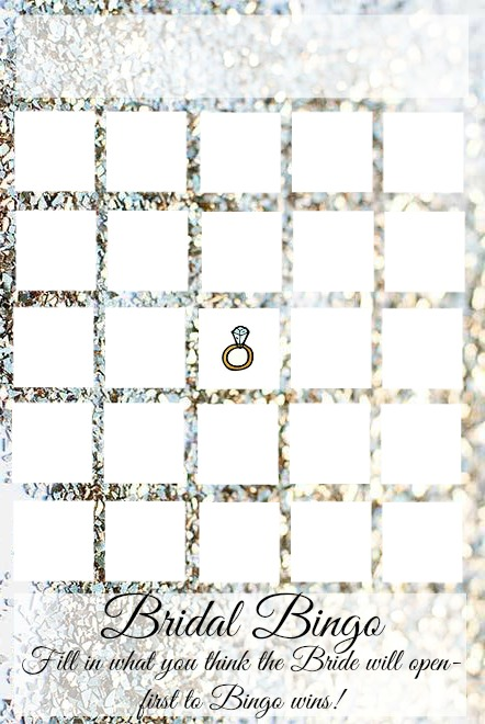 Bridal Bingo, free file to edit and print!