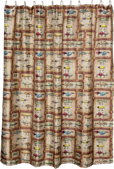 Cabin And Lodge Bath Decor — Antique Fishing Lures Shower Curtain