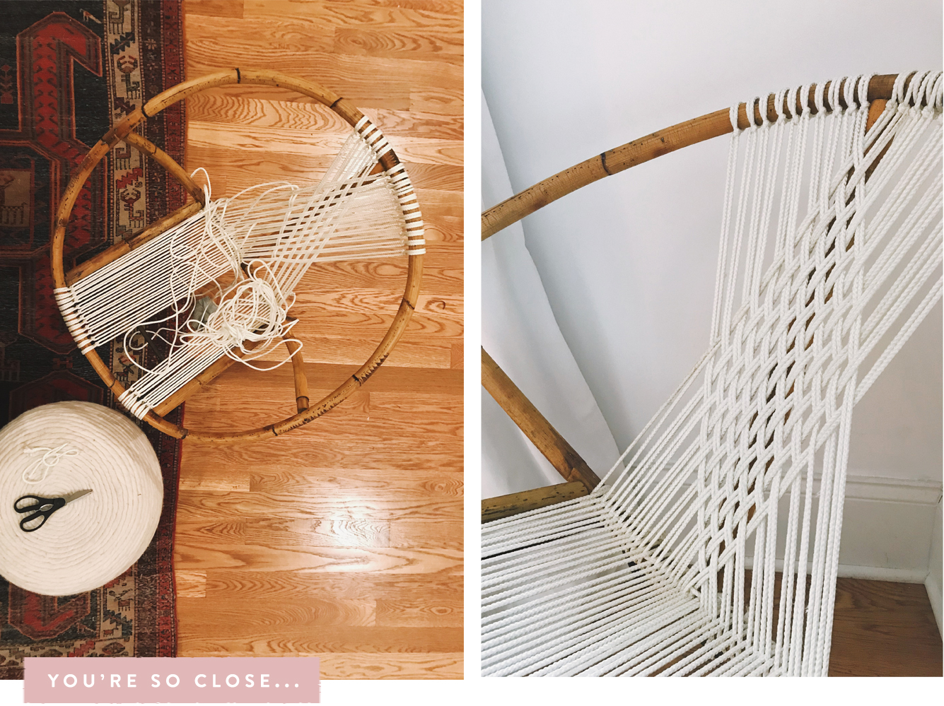 rope bottom chair ergonomic office johannesburg diy how to restring a wicker hoop in 15 agonizing steps when i needed start new section of made sure tie it the back metal bar and tuck ends
