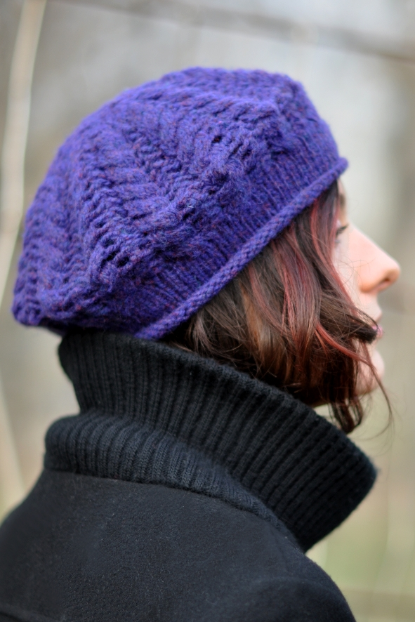 Knit Beret Worked With Straight Needles