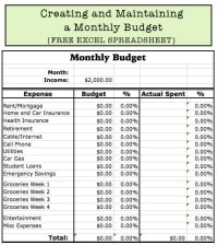 Creating and Maintaining a Monthly Budget {Free Excel ...