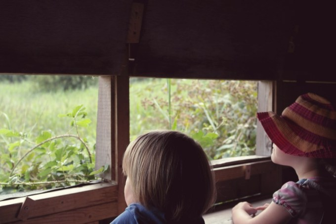 Children in a Hide, Bucklers Hard, Beaulieu