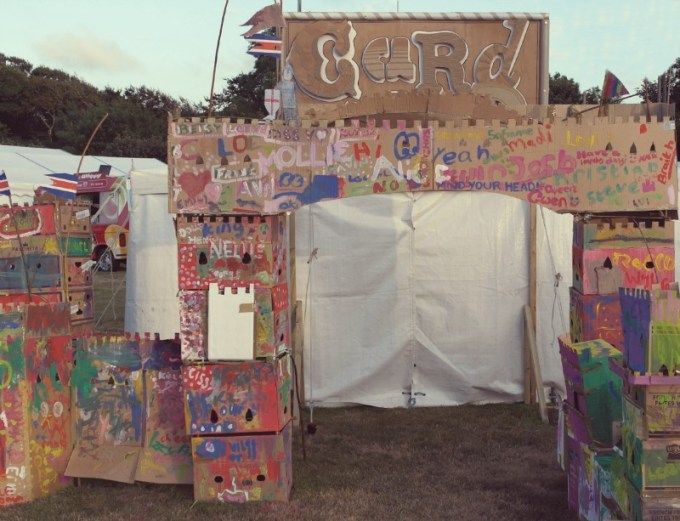 Cardboard Castle building at Camp Bestival