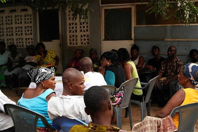 above: A self help group meeting in Accra, run by Basic Needs Trust