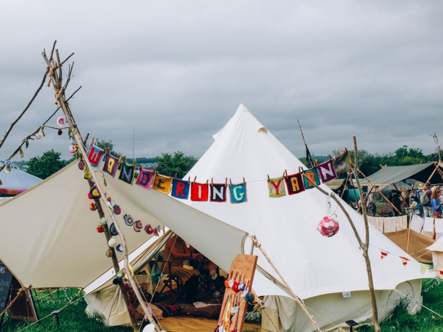 Photos of The Greencrafts Village, Glastonbury Festival 2015:  Wandering Yarns , Crochet broaches and wristbands