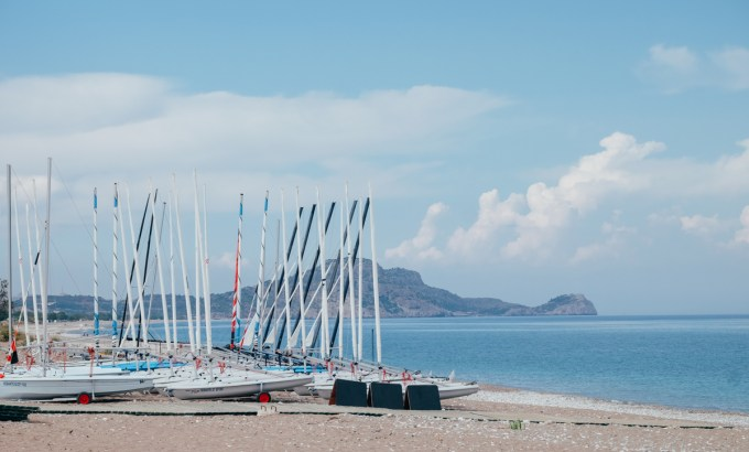 Boats lined up on thebeach at Mark Warner's Levante Resort