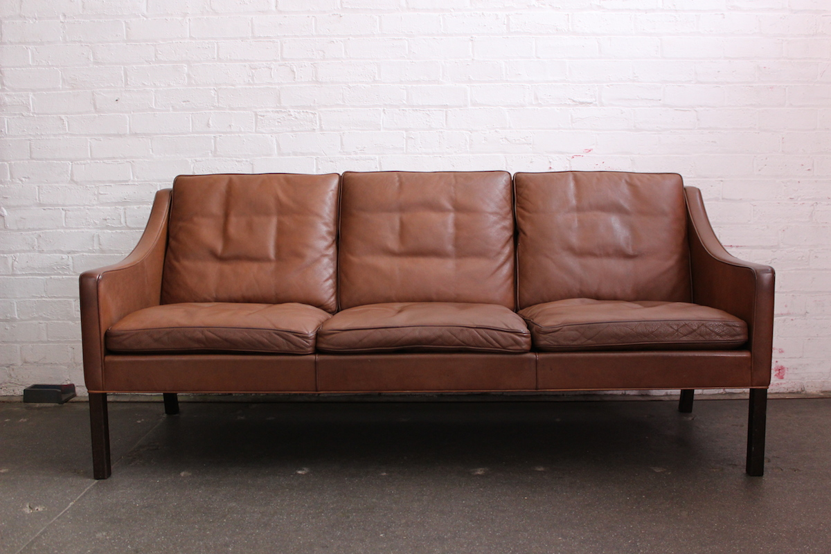 brown leather sofa on legs cheap bed sale borge mogensen three seater fredericia model 1 jpg