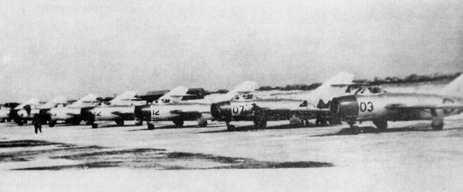 MIG-15's on an airstrip in China. Source
