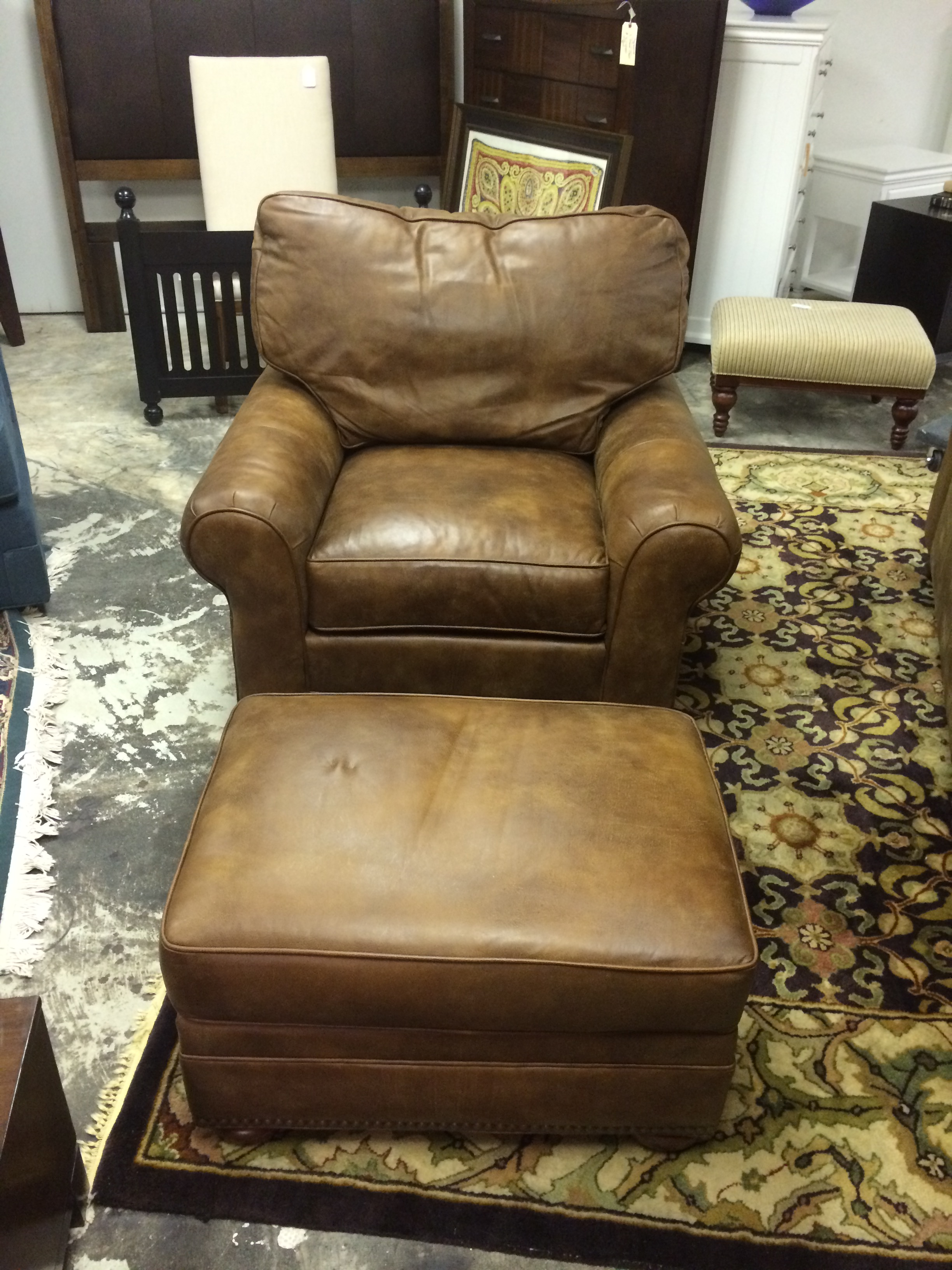 thomasville leather chair potty for boy mercer ottoman furnish this fine