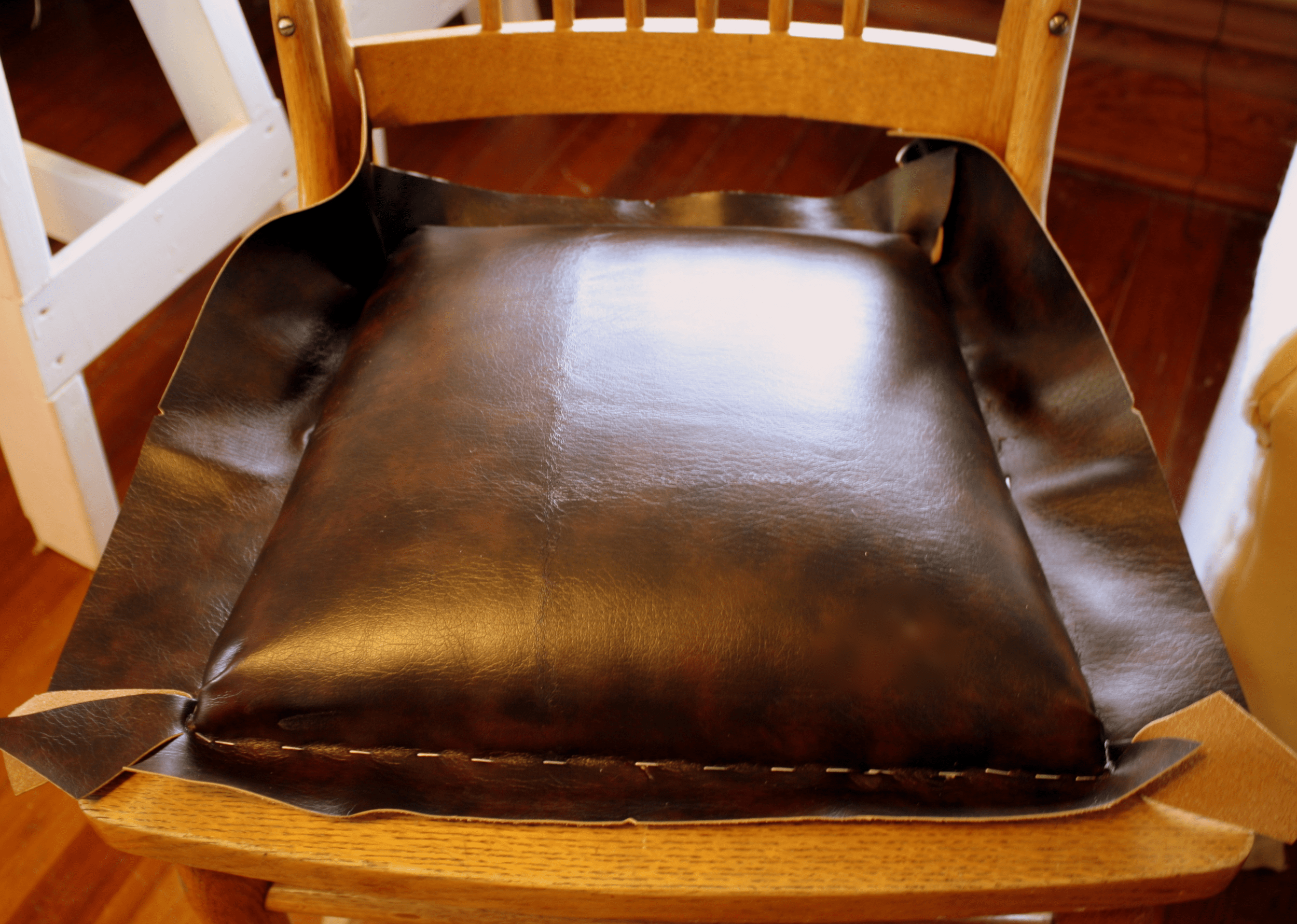how to replace cane back chair with fabric costco leather dining chairs upholstery 101 broken caning a padded seat good bones once your piece is cut position it on the and then use spray glue adhere burlap