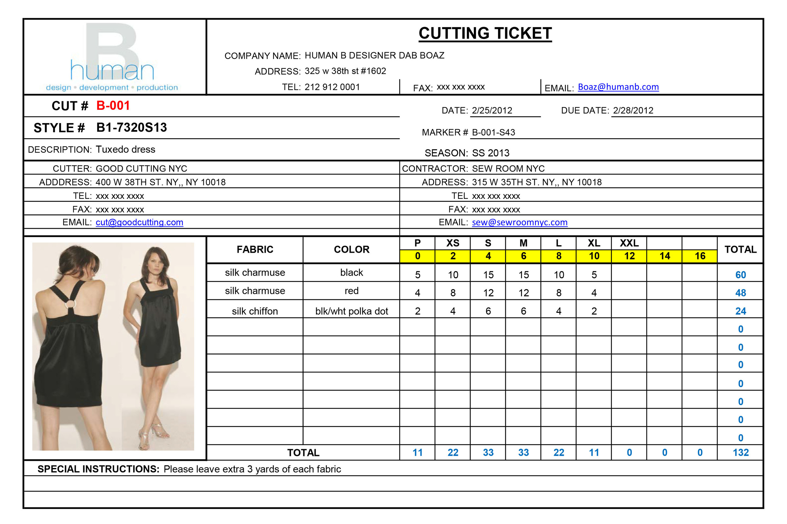fashion order form template