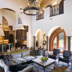 Living Room In Spanish Zebra Blinds Villa — Vanguard Studio, Inc. Austin, Texas Architect