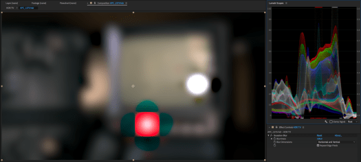 The new After Effects Gaussian Blur is actually the old Premiere Pro Gaussian Blur. Note the negative values on the scopes corresponding with the discolored halos around the highlights.