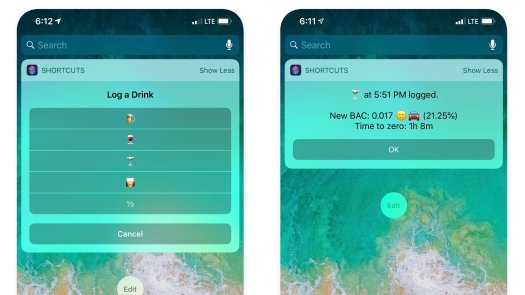 Drinking Buddy running as a Widget in the iPhone Today View.