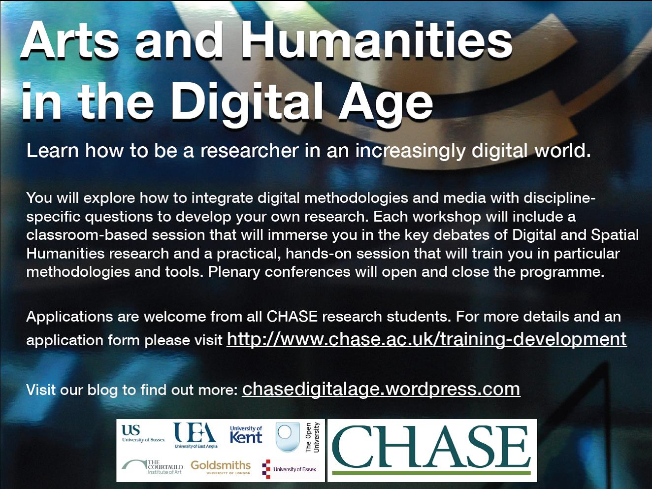 CHASE Arts and Humanities in the Digital Age promotional poster