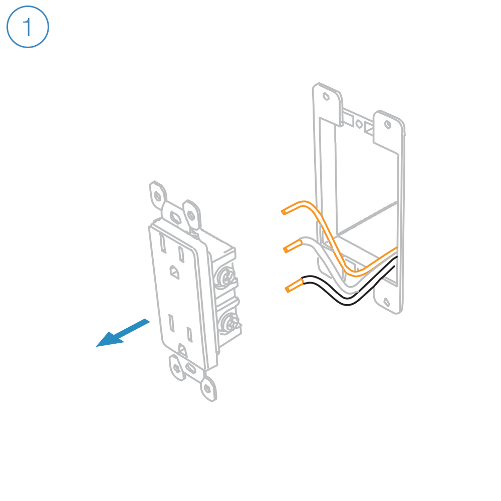 medium resolution of turn off power at the service panel and remove the existing wall outlet